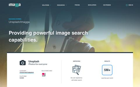 Screenshot of Case Studies Page imagga.com - Case-study: Unsplash uses Imagga API to empower the sophisticated backend system, categorize photos and enhance the image metadata. | Imagga Technologies Ltd. - captured June 21, 2018