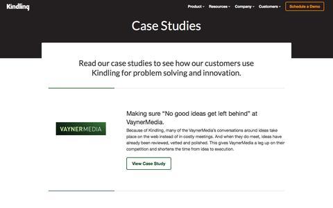 Screenshot of Case Studies Page kindlingapp.com - Case Studies  | Kindling. Innovation software people enjoy using. - captured Oct. 30, 2014