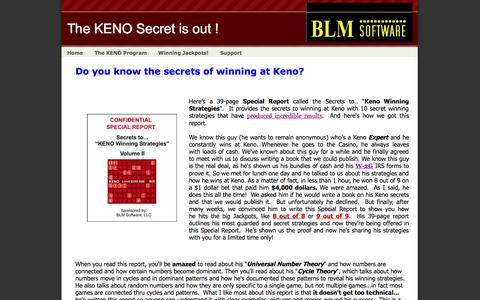 Screenshot of Home Page blmsoftware.com - KENO Winning Strategies - captured Sept. 24, 2014