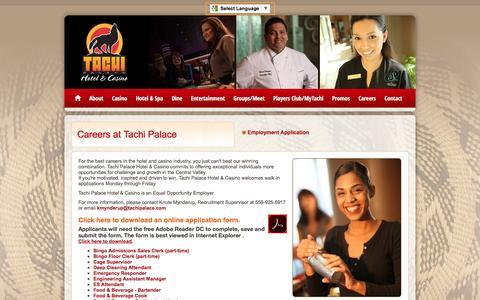 Screenshot of Jobs Page tachipalace.com - Careers at Tachi Palace Hotel & Casino : Lemoore, CA - captured Dec. 20, 2016
