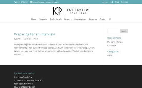 Screenshot of Blog interviewcoachpro.com - Blog - Interview Coach Pro - captured Nov. 6, 2018
