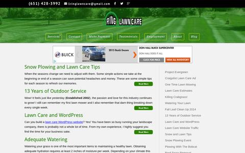 Screenshot of Blog ringlawncare.com - Ring Lawn Care Posts - captured Jan. 11, 2016