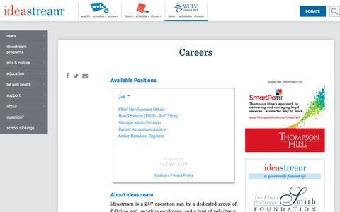 Screenshot of Jobs Page ideastream.org - Careers | WCLV 104.9 ideastream - captured Jan. 15, 2018