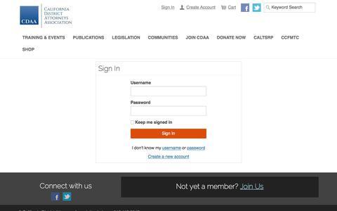Screenshot of Login Page cdaa.org - Sign In - captured July 11, 2017