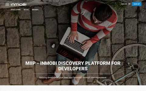 Screenshot of Developers Page inmobi.com - InMobi | Mobile Discovery Commerce | Monetization | Advertising - captured March 6, 2016