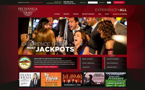 Screenshot of Home Page pechanga.com - Home - Pechanga Resort & Casino - captured Sept. 19, 2014