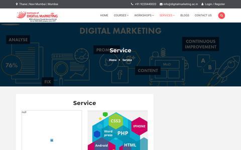 Screenshot of Services Page digitalmarketing.ac.in - Service - Institute Of Digital Marketing - captured Nov. 23, 2019