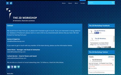 Screenshot of Contact Page wordpress.com - Contact | The 2D Workshop - captured Sept. 12, 2014