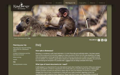 Screenshot of FAQ Page kerdowneybotswana.com - FAQ Ker & Downey Botswana | Ker & Downey Botswana - Discover Beautiful Botswana with our Luxury Safaris - captured Sept. 30, 2014