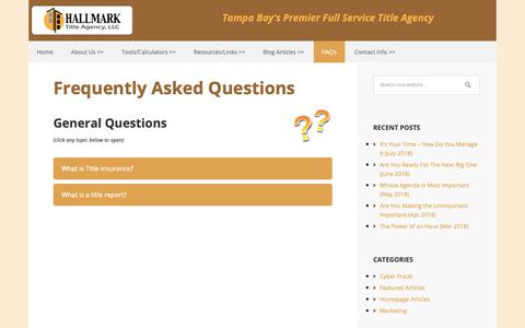 Screenshot of FAQ Page hallmarktitlefl.com - Frequently Asked Questions - Hallmark Title Agency - captured Sept. 26, 2018