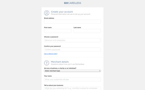 Screenshot of Signup Page gocardless.com - Create a merchant account - GoCardless - captured Sept. 16, 2014