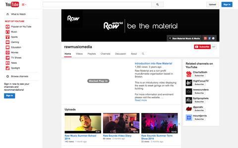 Screenshot of YouTube Page youtube.com - rawmusicmedia  - YouTube - captured Nov. 3, 2014