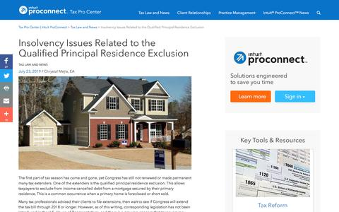 Screenshot of Press Page intuit.com - Insolvency Issues Related to the Qualified Principal Residence Exclusion | Tax Pro Center | Intuit ProConnect - captured Nov. 21, 2019