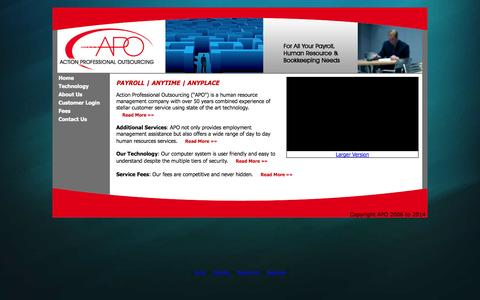 Screenshot of Home Page apotx.com - Payroll Services Outsourcing - Human Resource Outsourcing - captured Oct. 4, 2014