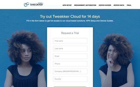 Screenshot of Trial Page tweakker.com - Try out Tweakker Cloud with a Trial - Spirent - captured June 17, 2017