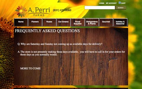 Screenshot of FAQ Page perrifarms.com - Article - captured Nov. 2, 2014