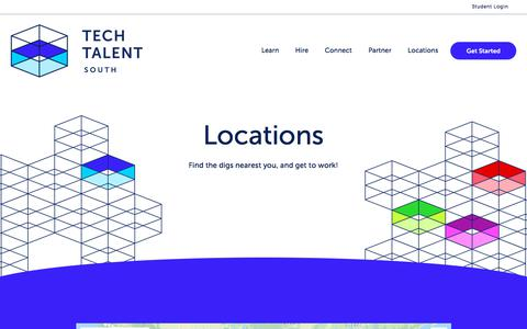 Screenshot of Locations Page techtalentsouth.com - All Locations Map - captured Dec. 2, 2019