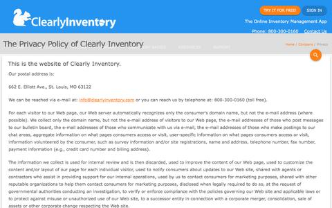 Screenshot of Privacy Page clearlyinventory.com - Privacy Policy - Clearly Inventory - captured July 18, 2018