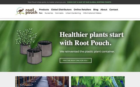 Screenshot of Home Page rootpouch.com - Root Pouch - captured Sept. 21, 2018