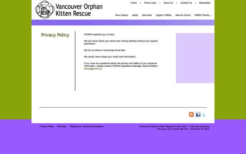 Screenshot of Privacy Page orphankittenrescue.com - Privacy Policy - Vancouver Orphan Kitten Rescue Association (VOKRA) - captured Oct. 27, 2014