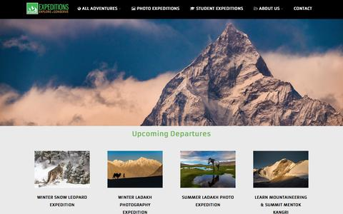 Screenshot of Home Page voygr.com - Voygr Expeditions - Photography Tours, Adventures in Ladakh, Student Expeditions - captured Dec. 12, 2016