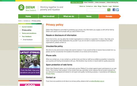 Screenshot of Privacy Page oxfam.org.nz - Privacy policy    Oxfam NZ - captured Dec. 2, 2016
