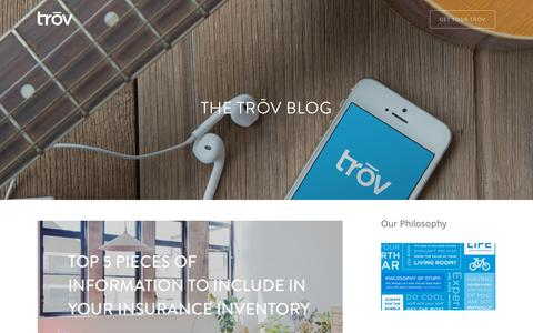 Screenshot of Blog trov.com - The Trōv Blog | Trōv | The Cloud For Your Things - captured Oct. 2, 2015