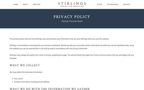 Screenshot of Privacy Page stirlings.co.uk - Privacy Policy - Stirlings - captured Oct. 20, 2018
