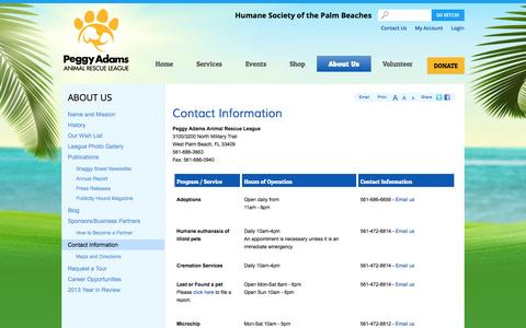 Screenshot of Contact Page Hours Page peggyadams.org - Contact Information | Peggy Adams: HSPB - captured Oct. 27, 2014