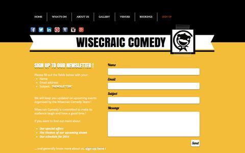Screenshot of Signup Page wisecraiccomedy.com - Wisecraic Comedy - Comedy events in Newbury - captured Nov. 30, 2016