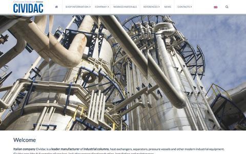 Screenshot of Home Page cividac.com - Industrial Columns Production – Industrial Columns from Italian Manufacturer Cividac - captured Jan. 31, 2016