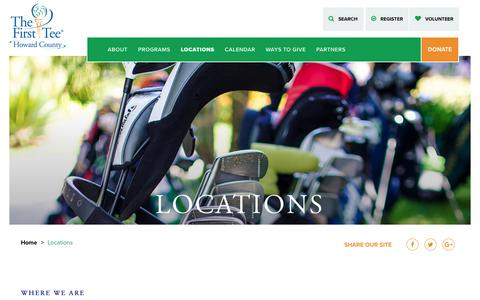Screenshot of Locations Page thefirstteehowardcounty.org - Locations - The First Tee of Howard County - captured July 9, 2018