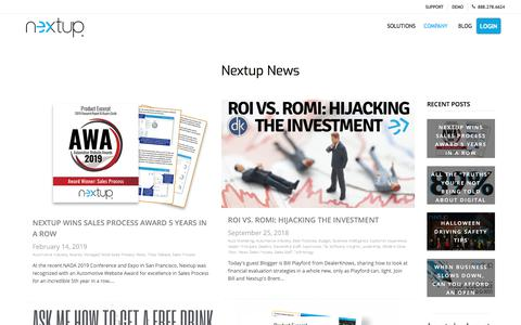 Screenshot of Press Page thenextup.com - News - Nextup - captured Nov. 11, 2019