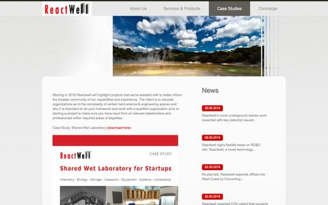 Screenshot of Case Studies Page reactwell.com - Case Studies  |  ReactWell - captured Aug. 17, 2016