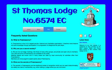 Screenshot of FAQ Page stthomaslodge6574.org.uk - St Thomas Lodge 6574 - - captured June 29, 2018