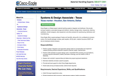 Screenshot of Jobs Page cisco-eagle.com - Dallas, Texas Conveyor Systems Engineer Job - captured Jan. 5, 2017