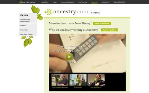 Screenshot of Jobs Page ancestry.com - Ancestry | Careers - captured Oct. 22, 2014