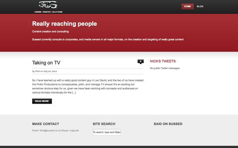 Screenshot of Home Page sussed.co.za - Sussed Creative Solutions (PTY) Ltd. — Crafty content - captured Oct. 7, 2014