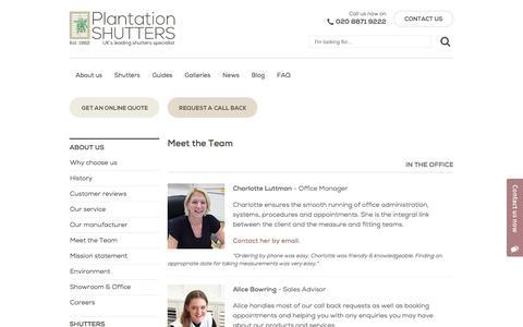 Screenshot of Team Page plantation-shutters.co.uk - Our Team | About Us | Plantation Shutters London - captured Aug. 9, 2017