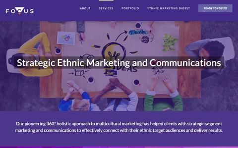 Screenshot of Services Page focuscomms.com - Multicultural Marketing, PR & Events - Focus Communications - captured Nov. 12, 2016