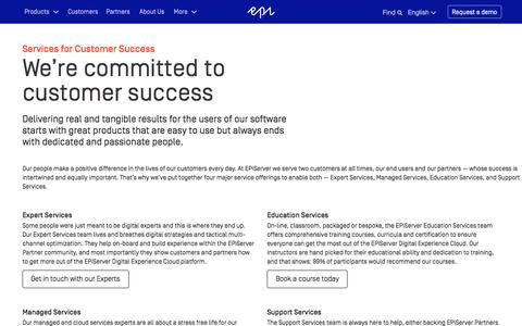Screenshot of Services Page episerver.com - Services for Customer Success ะ Managed Services, Training and Support - captured Nov. 9, 2015