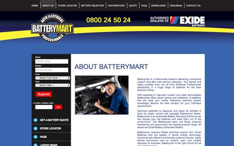 Screenshot of About Page batterymart.co.nz - Company - Exide - captured March 16, 2016