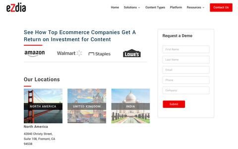 Screenshot of Contact Page ezdia.com - Ecommerce SEO Optimized Content Solutions: Contact Us | eZdia - captured Aug. 12, 2019