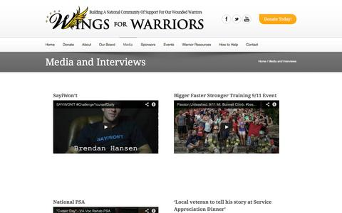 Screenshot of Press Page wingsforwarriors.org - Media and Interviews | Wings for Warriors - captured Oct. 25, 2014
