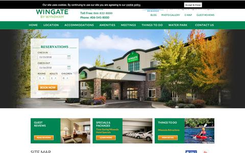 Screenshot of Site Map Page wingatemissoula.com - Montana Hotel Information - Wingate by Wyndham Web Pages Directory - captured Nov. 15, 2018