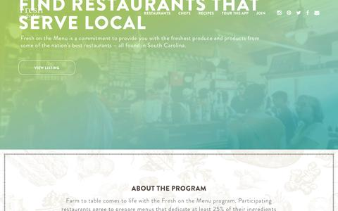 Screenshot of Home Page freshonthemenu.com - Fresh on the Menu - captured May 6, 2017