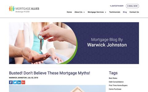 Screenshot of Blog mortgagesource.biz - Blog | Mortgage Refinancing in Milton, Markham, Vaughan, Brampton - captured Oct. 20, 2018