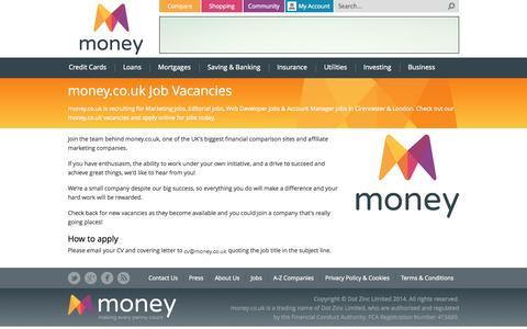 Screenshot of Jobs Page money.co.uk - money.co.uk Jobs - Marketing, IT, Sales, Writing - captured Oct. 26, 2014