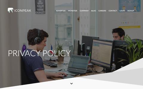 Screenshot of Privacy Page iconpeak.com - Privacy policy | IconPeak - captured Jan. 9, 2016