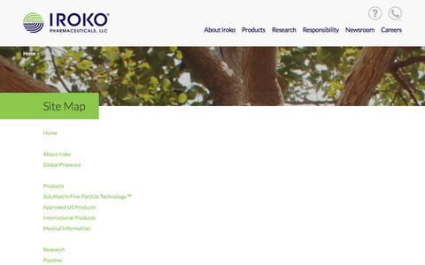 Screenshot of Site Map Page iroko.com - Site Map | Iroko Pharmaceuticals - captured Oct. 15, 2017